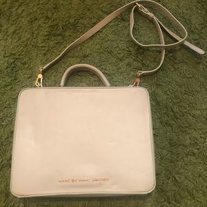 Marc by Marc Jacobs cream leather briefcase bag